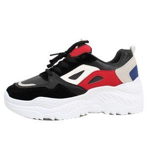Black Color Block Fashion Retro Platform Sneaker